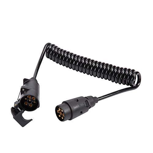 ETUKER 2m Remolque Cable 7 Pines, 12V Remolque Cable Electrico en Espiral 7 Pines, 2,5m Universal Remolque Cable de Extensión, para Caravanas/Coches/Camión/Barco/RV/Conector Remolque (2,5m)