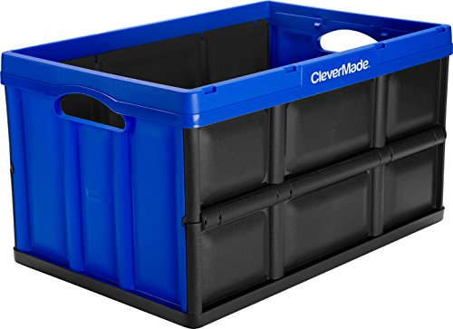 CleverMade CleverCrates 62 Liter Collapsible Storage Bin/Container: Solid Wall Utility Basket/Tote, Royal Blue