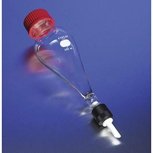 Corning Pyrex Borosilicate Glass Squibb Separatory Funnel with PTFE Valve and Threaded Screw Cap, 1 L Capacity