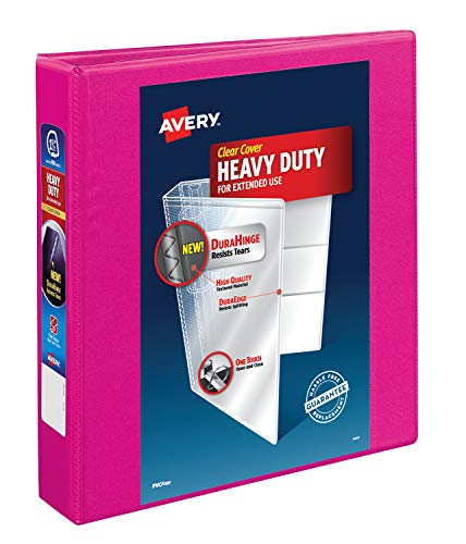 Avery Heavy Duty View 3 Ring Binder, 1.5 One Touch Slant Ring, Holds 8.5 x 11 Paper, 1 Pink Binder (79721)