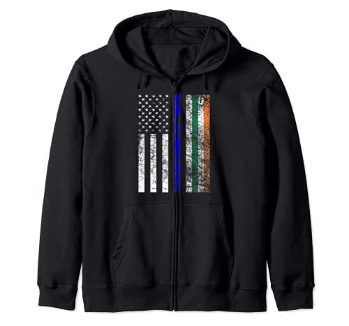 Bandera Irlandesa Americana Delgada Lnea Azul Polica Da de San Patricio Sudadera con Capucha