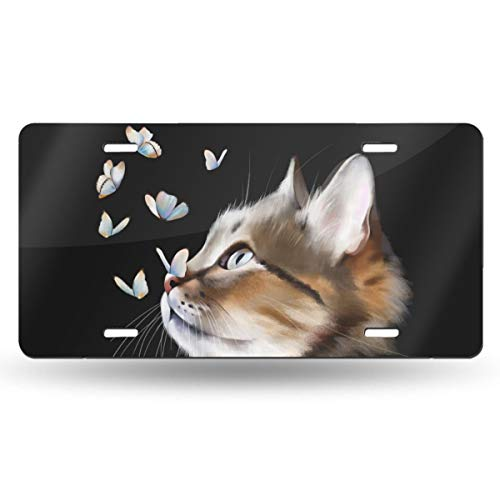 Dujiea License Plate Aluminum, Watercolor Animal Cat Butterfly Car Tag Cover Decorative License Plates for Front of Car Durable Metal Car Plate for Women/Girls/Men/Boys Vanity Gifts, 6 X 12 in
