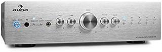 AUNA CD708 • Amplificador estéreo HiFi • Amplificador de Audio • Potencia máx. 600 W • Terminales de Abrazadera • 5 entradas de línea RCA • Ecualizador de 3 Bandas • Plateado