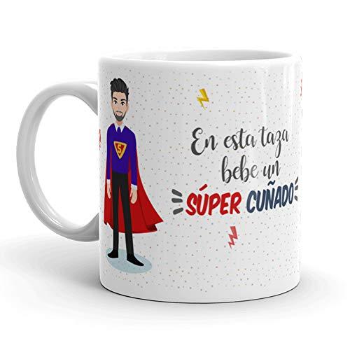 Kembilove Taza de Café para Cuñado – Aquí Bebe un Super Cuñado – Taza de Desayuno para Familia – Regalo Original para Familiares, Navidad, Aniversarios – Taza de Cerámica de 350 ml