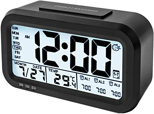 ELYSIUM Digital Alarm Clock - LED Display Table Clocks for Students - Best for Kids Bedroom with Snooze Button, Temperature, Battery Operated (Black)