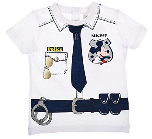 Tee shirt manches courtes bébé garçon Mickey trompe-oeil Policier de 6 à 23mois (23mois, Blanc)