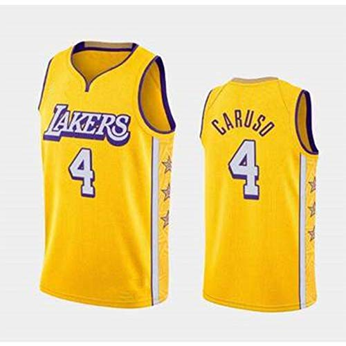 CHANGU Men's Basketball Lakers 4#Caruso, City Edition Fan Jersey,Comfortable, Breathable, Sweat-Absorbent,Suitable for Men and Women Fans Sports Jerseys XL