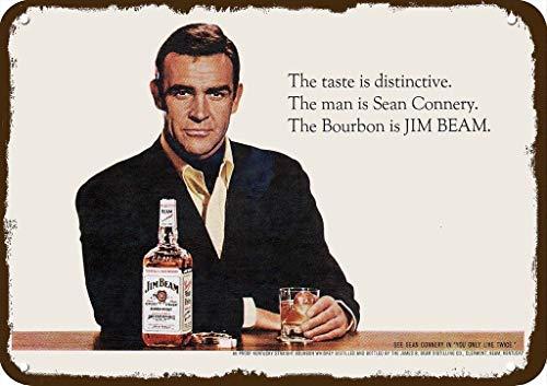 Laptopo 1967 Jim Beam Vintage Look Replica Metal Sign - Sean Connery - 007 - James Bond