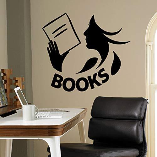 Modeganqingg Libros calcomanías de Vinilo calcomanías de Vinilo Biblioteca Aula de la Escuela hogar Sala de Estar Interior Dormitorio de los niños Pared extraíble Negro M 57x51cm