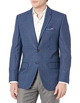Haggar Men s Glen Plaid Tailored Fit Center Vent Sport Coat Medium Blue 44R