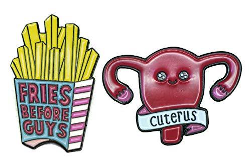 ac-b20132b Enamel Brosche Cuterus Fries before Guys Broschen Brooch Pin Anstecknadel Ansteck-Pin für Kleidung Schal Rucksack, 2 Stück