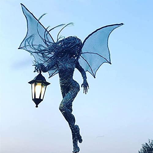BBGT Elfo con Linterna, Figura para El Hada del Jardín con Linterna, Estacas Decorativas para El Jardín, Elfos De Jardín