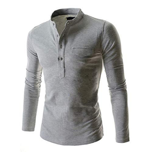 YYW Mens Casual Slim Fit Henley Knopen Grandad Neck T-shirt met lange mouwen met zak