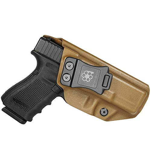 Amberide IWB KYDEX Holster Compatible with Glock 19/19X/44/45 Gen(3-5) & Glock 23/32 Gen(3-4) Pistol   Inside Waistband   Adjustable Cant   US KYDEX Made (Coyote Brown, Left Hand Draw (IWB))