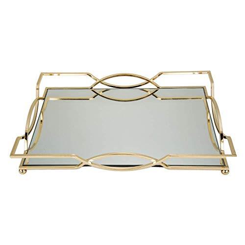 Bandeja decorativa hermosa moderna y elegante metal dorado rectangular mesa de café decorativa perfume, sala de estar, cocina, diseño único (color: dorado, tamaño: 30 x 21 x 6,5 cm) AA