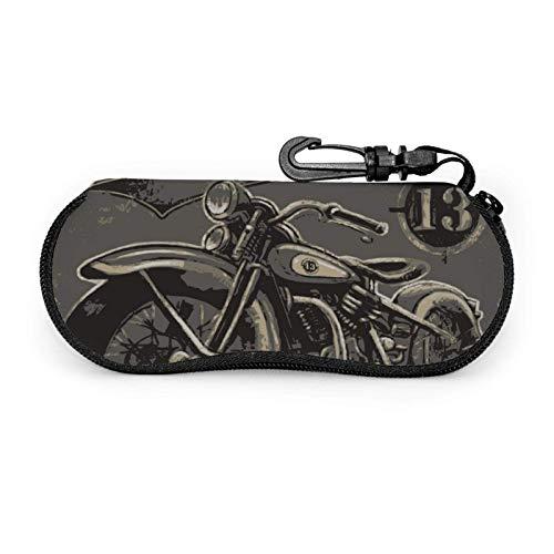 GOSMAO Funda Gafas Motocicleta de estilo retro Neopreno Estuche Ligero con Cremallera Suave Gafas Almacenaje