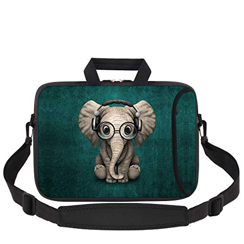 Laptop Sleeve 11.6-12.1 Inch, iCasso Soft Neoprene Laptop Bag Case Handle Bag with Adjustable Shoulder Strap for MacBook Air 11, MacBook Retina 12 Inch/iPad Pro/Ultrabook Netbook Tablet - Elephant