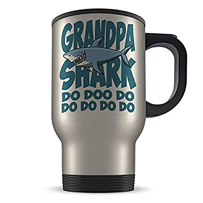 14oz Grandpa Shark Do Doo Do Funny Novelty Aluminium Travel Mug