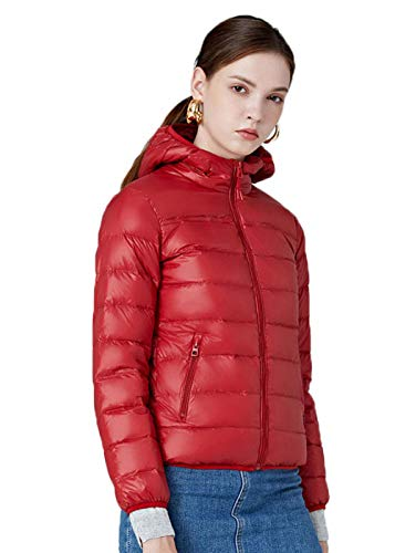 N / A Damen Wm's Coat Leichte Daunenjacke, 700 Fill-Power, Warmer Parka, Wintermantel, wasserabweisend, Winddicht-red_4XL