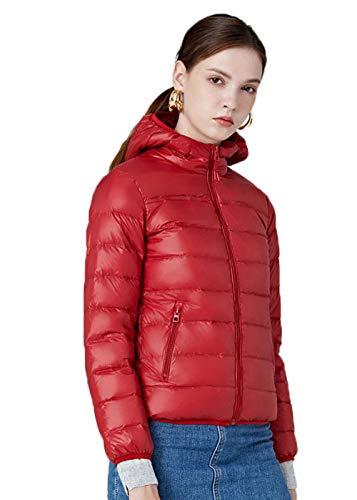 N / A Damen Wm's Coat Leichte Daunenjacke, 700 Fill-Power, Warmer Parka, Wintermantel, wasserabweisend, Winddicht-red_4XL