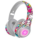 Bluetooth 5.0 Headphones,Dualpow Over Ear Gaming Homeschooling 24Hrs Playtime Headset Microphone for iPhone/Android/IPAD/Tablets/TV/Chromebooks & ONLY Wired for PS4,Switch,Xbox (DUALPOW Girl)