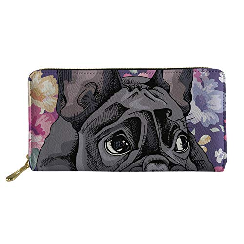Coloranimal Slim Credit Cards Holder Long Leather Wallet GIft Women Travel Clutch Bag French Bulldog Design Coins Changes Organizer Purse