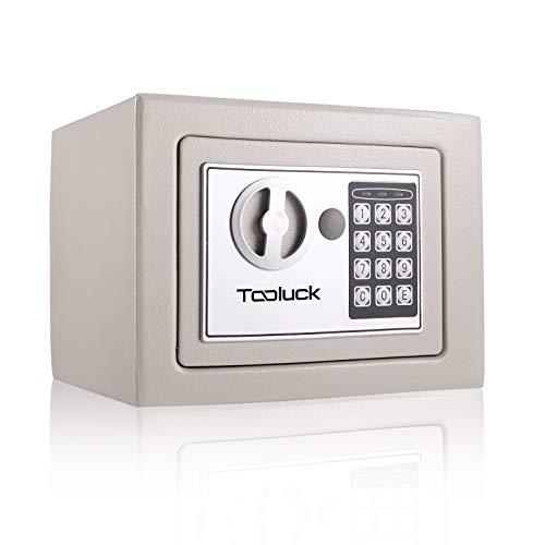 TOOLUCK- Caja Fuerte, con Cerradura Electrónica y 2 llaves de Emergencia, Montada en la Pared / Piso, con dos pernos de bloqueo, Caja Fuerte Pequeña para oficina o hogar por dinero, Joyas (blanco)