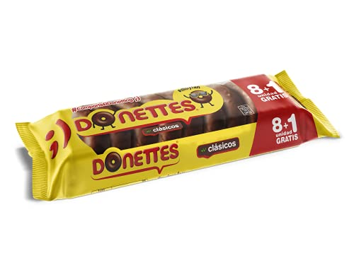 Donettes Clásicos Sabor Chocolate pack 8+1 unidad gratis. 171 g (19gr por mini rosquilla)