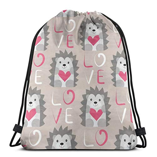 Affordable shop Hedgehog Heart Pattern Hand Drawn Animals Drawstring Backpack Sport Bags Cinch Tote Bags For Traveling And Storage For Men And Women 17X14 Inch