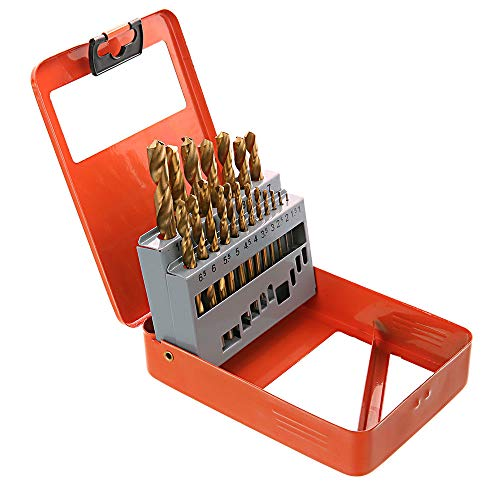 WELLCUT 19-Piece Heavy Duty 1-10mm HSS Steel Masonry Drill Bit Set Metal Wood & Masonry Application in a Portable Storage Case for DIY and Professional Use