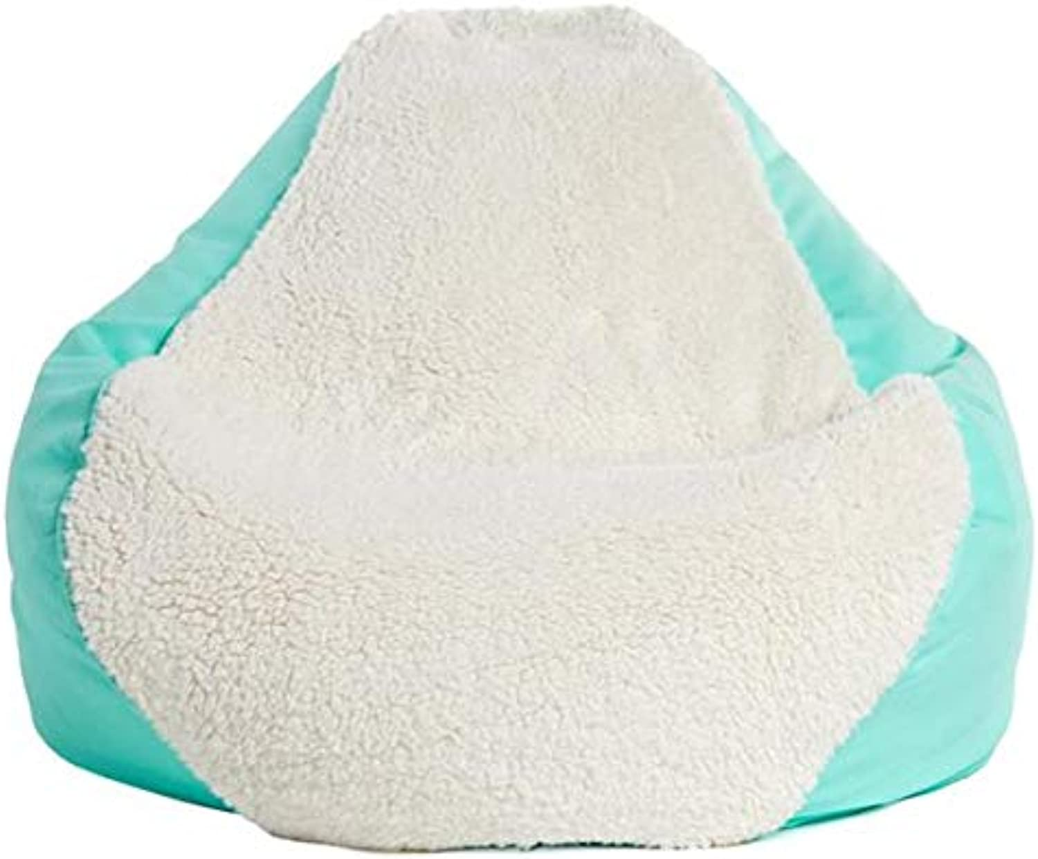 Mybeanbag Chair Kids PEAR, Ivory Sherpa Mint Twill