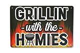 Targa in metallo per grigliare/barbecue divertente 30x20cm - maestro grill - cartello porta - cartello muro/porta - barbecue hobby - grigliate - amante della carne - cantina hobby - fori praticati (1)