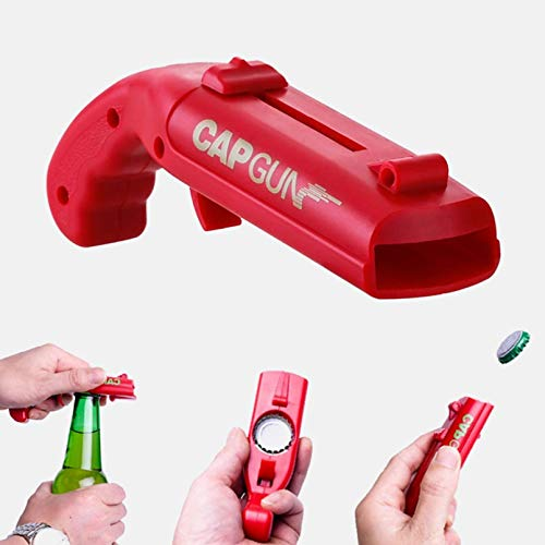 WSZOK Abridor de botellas portátil, pistola de lanzador, abridor de botellas de pistola, lanzador de cerveza, abridor de cerveza para fiesta de regalo, dispara más de 5 metros