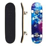 Geelife Skateboard 7 Layers Decks 31'x8' Pro Complete Skate Board Maple Wood Longboards for Teens Adults Beginners Girls Boys Kids (Nebulae)