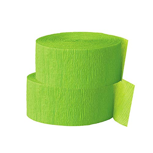 OCD Bargain Crepe Paper Streamer, 81 Feet (2 Piece) - Party Supplies for Parties, Baby Shower, Bridal Shower (Lime Green)