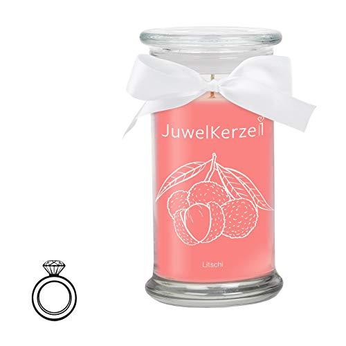 JuwelKerze Litschi - Kerze im Glas mit Schmuck - Große Pinke Duftkerze mit Überraschung als Geschenk für Sie (Silber Ring, Brenndauer : 90-125 Stunden)