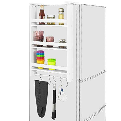 SoBuy® FRG150-W Hängeregal für Kühlschrank mit 5 Haken Türregal Küchenregal Gewürzregale mit 3 Ablagen, BHT ca.: 42x74x9cm