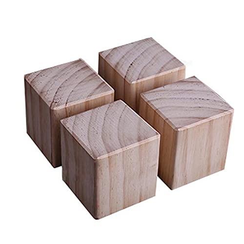 Möbelerhöhung aus Kiefe Betterhöhung Bed Riser Möbelfüße Tischerhöher Elefantenfuß, für Bett Tischbeine Möbel Sofas Betten,Erhöhung um 10cm,4 Stück(Size:6×6×10cm)