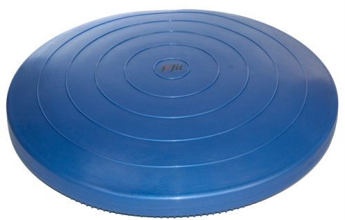 j/fit Inflatable Balance & Stability Disc: (LARGEST in Industry 26') Large Yoga Wobble Cushion Trainer - Core Fitness & Workout Equipment Discs for Home - Office Chair, Ankle Strength Training & Dog or Pet Activity: Blue, 26-Inch