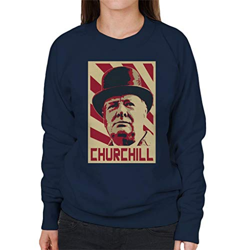 Cloud City 7 Winston Churchill Retro Propaganda Sweatshirt voor dames