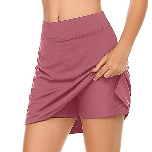 FUNEY Women's Active Performance Skort Tennis Skirts Inner Shorts Elastic Sports Golf Skorts Lightweight Skirt for Workout Pink