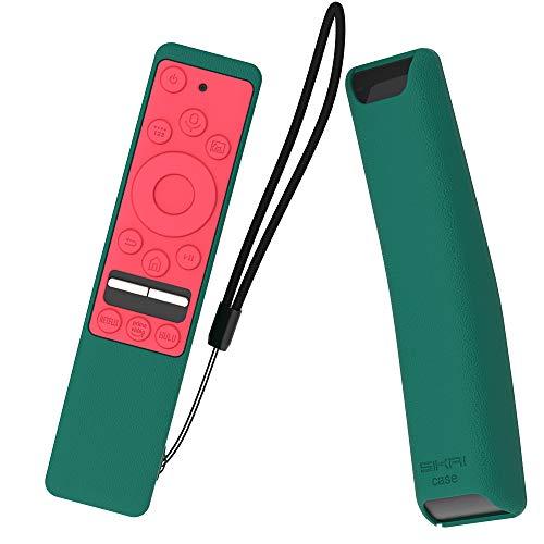 SIKAI CASE Funda Protectora Compatible con Mando de Samsung UHD 4K Smart TV Bluetooth Remote Control RMCSPR1BP1 / BN59-01312A Antideslizante Cubierta de Silicona a Prueba de Golpes (Green & Rojo)