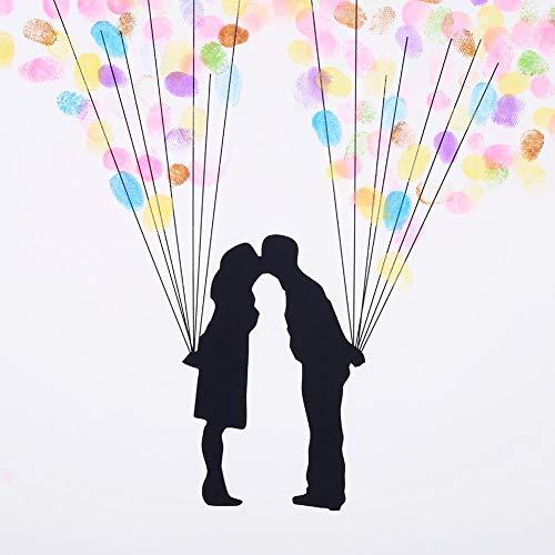 DIY Hochzeits-Fingerabdruck, Baum auf Leinwand, Unterschrift Gästebuch mit 6 Farben Tinte für Hochzeit, Geburtstag, Party (HK007)