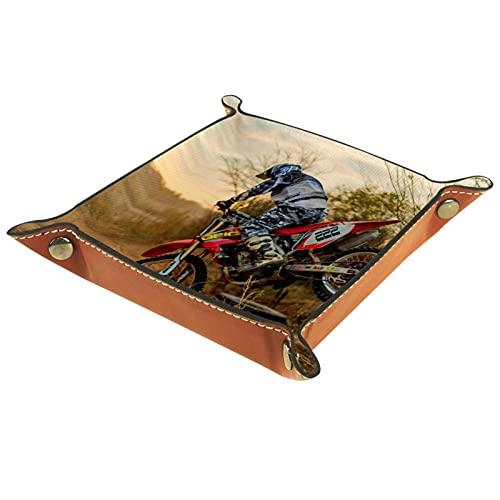 Bandeja plegable de piel con botones de presión para DnD, juego de tablet, almacenamiento para motocicleta, resistente 20,5 x 20,5 cm