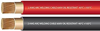 EWCS 2 Gauge Premium Extra Flexible Welding Cable 600 Volt Combo Pack - Black+Red - 25 Feet of Each Color Made in The USA
