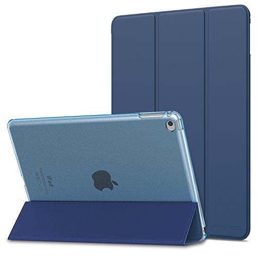 MoKo Funda para iPad Air 2 - Ultra Slim Función de Soporte Protectora Plegable Smart Cover Trasera Transparente Durable para Apple iPad Air 2 9.7 Pulgadas, Navy Azul (Auto Sueño/Estela)