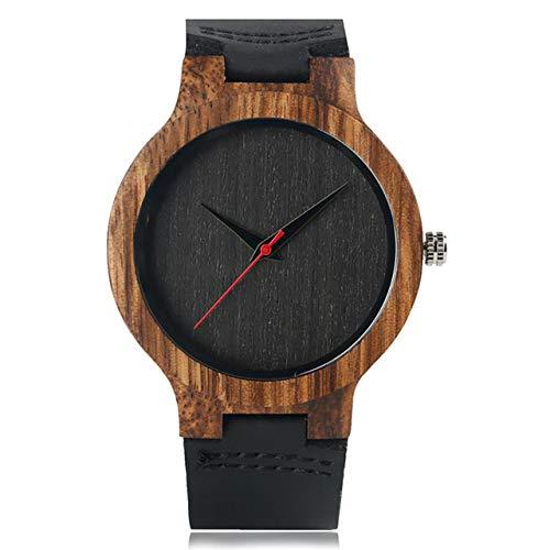 ZJQQS Houten horloges minimalistische wijzerplaat houten klok mannen kwarts horloge leer herenhorloge top sale mannelijk polshorloge geschenken