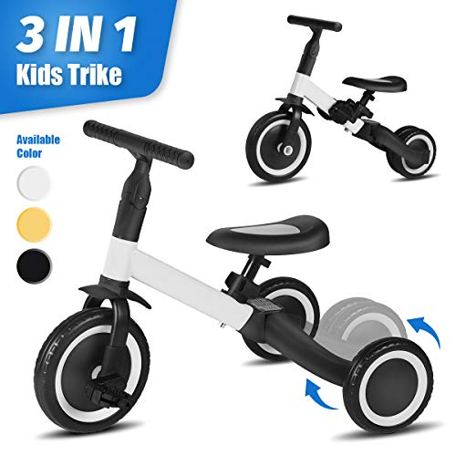 LINKLIFE Parker 3 in 1 Kids Trike for Children 1-3 Years Old Kids Tricycle Boys Girls Baby Balance Bike 2 Wheels for Toddlers Tricycle with Removable Pedals (White)