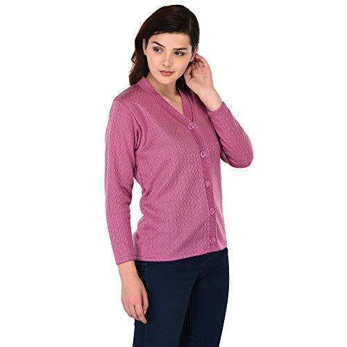 eWools Women Ladies Girls Winter Wear Woolen Button Top Sweaters Cardigans (Honey Cardigans) (Medium, Pink_113)