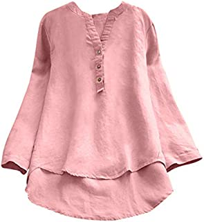 comprar comparacion OverDose mujer Con Cuello En Cuello De Manga Larga De AlgodóN Casual SóLido TúNica Suelta Tops Camiseta Mujer Talla Grande